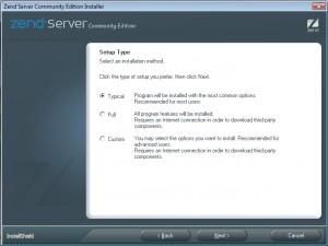 Zend Server CE: scelta del tipo di installazione