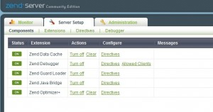 Zend Server Setup Components