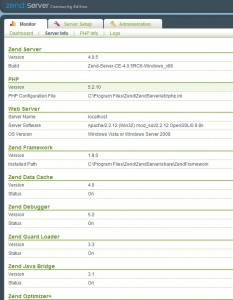 Zend Server Monitor Server Info