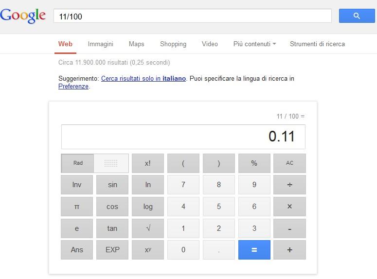 calcolatrice google online