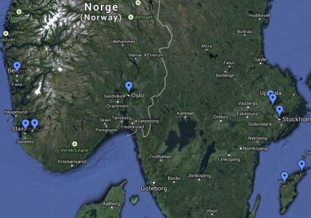 Mappa viaggio in Svezia e Norvegia